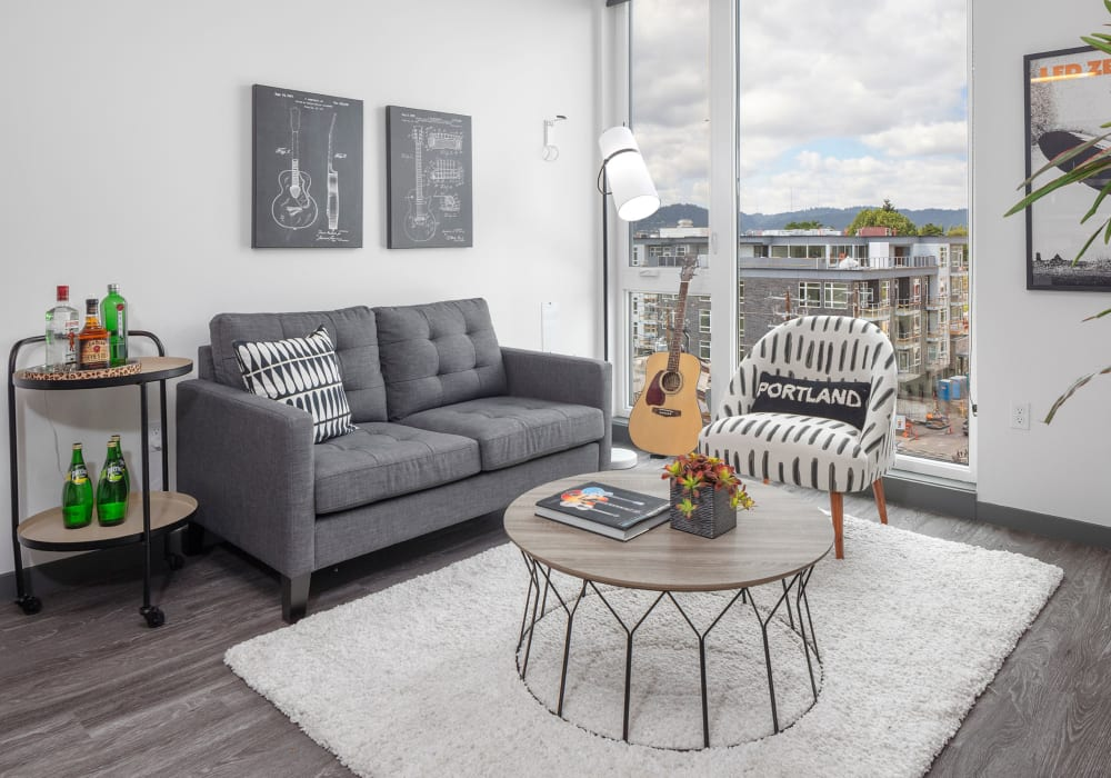Modern finishes in model living room of Parallax Apartments in Portland, Oregon