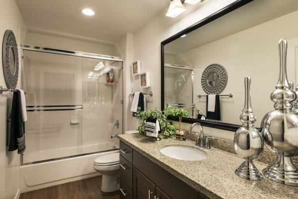 Luxury bathroom with granite counters at San Posada in Mesa, Arizona