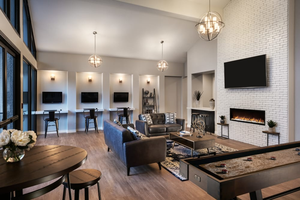 Contemporary decor in resident clubhouse at Club Cancun in Chandler, Arizona