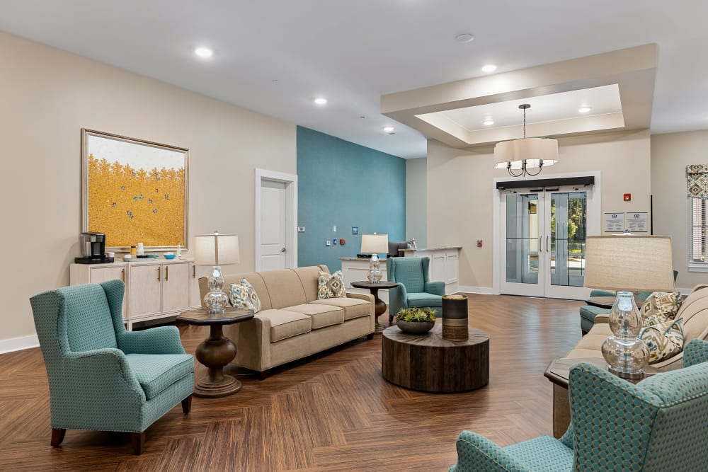 A cozy lounge at The Claiborne at Brickyard Crossing in Summerville, South Carolina