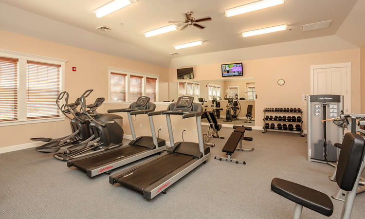 Fitness center at Rivers Pointe Apartments in Liverpool, NY