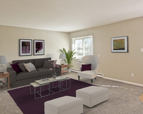 Bright living room at The Summit at Ridgewood in Fort Wayne, Indiana