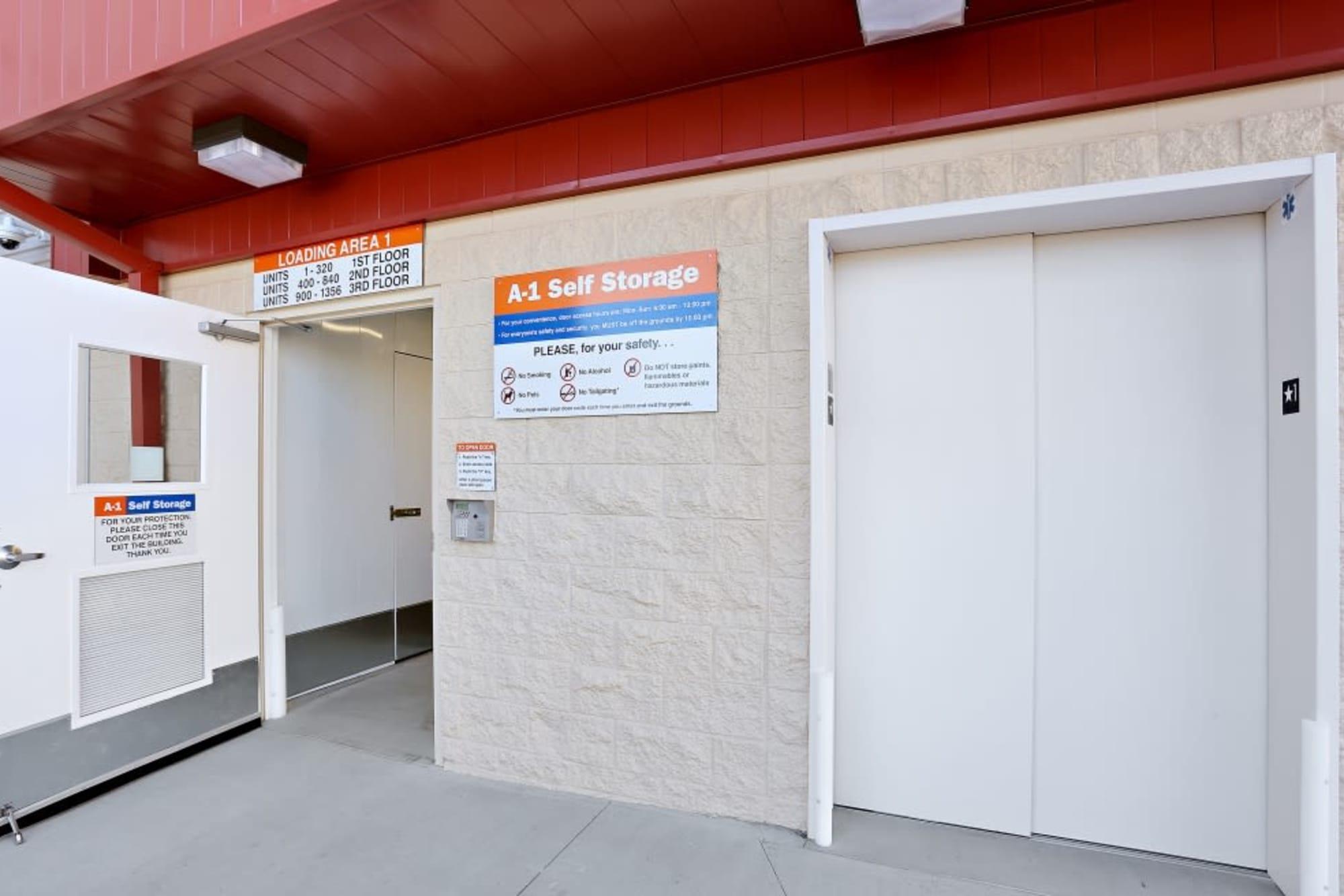 Wide elevator at A-1 Self Storage in San Diego, California