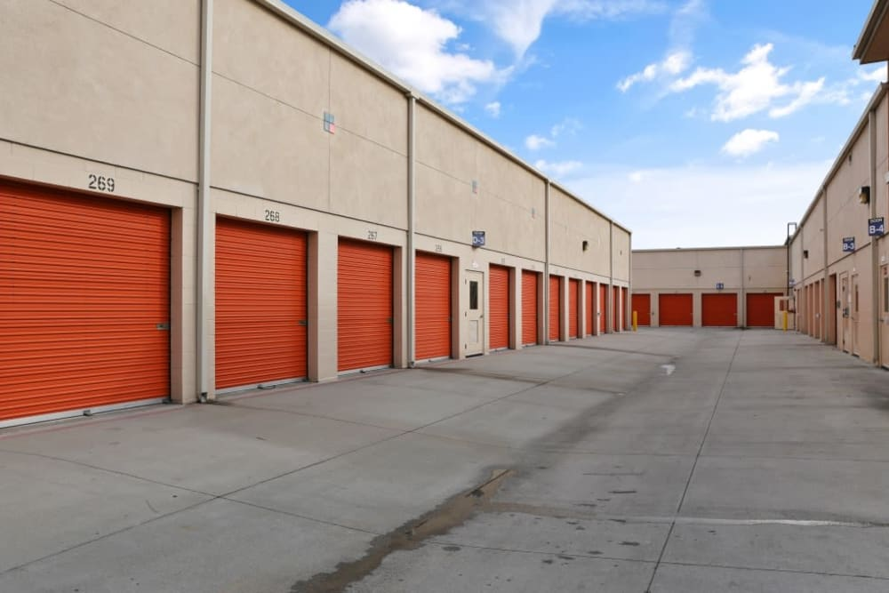 Drive-up storage units at A-1 Self Storage in Cypress, California