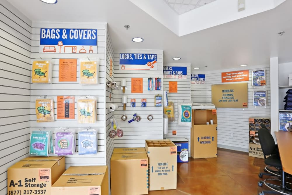 Packing and moving supplies available at A-1 Self Storage in Lakeside, California
