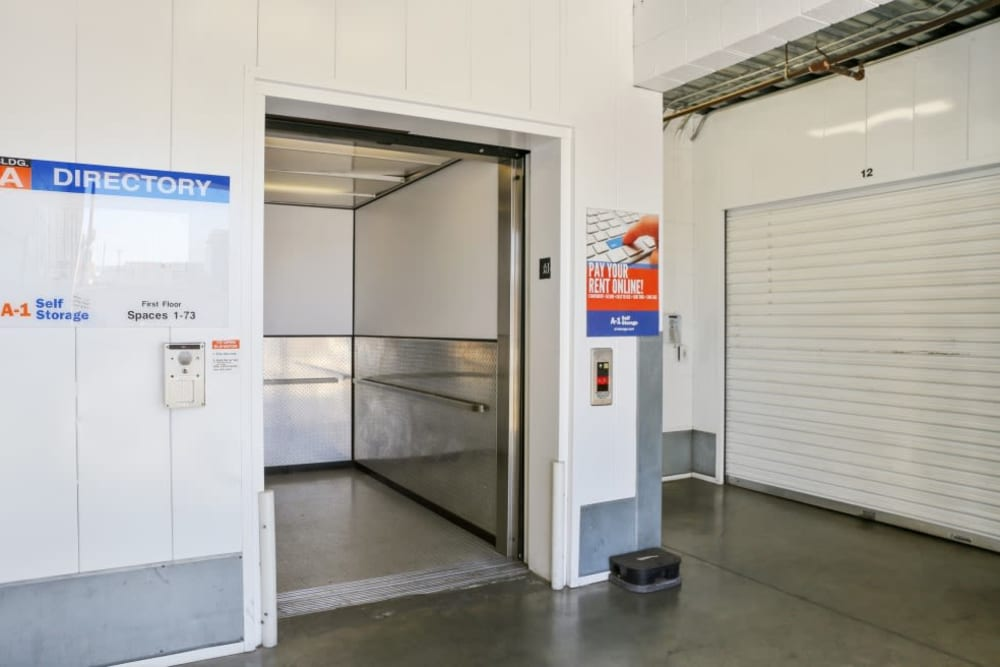 The convenient elevator at A-1 Self Storage in North Hollywood, California
