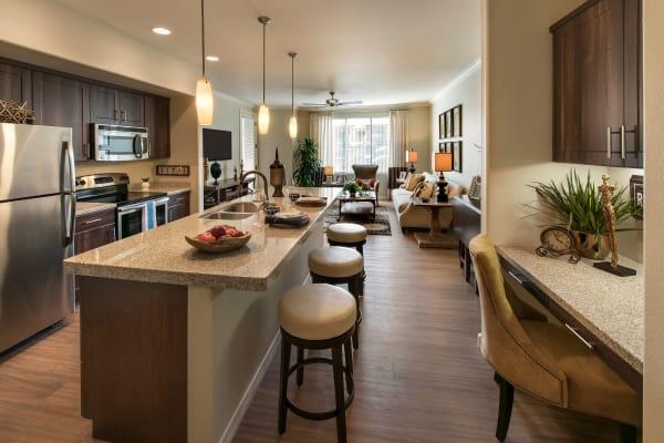 Kitchen with desk area at San Travesia in Scottsdale, Arizona
