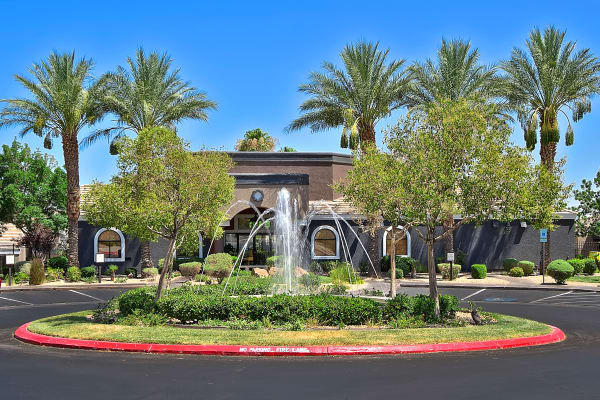 A fountain in the parking lot of Cielo Apartment Homes in Henderson, Nevada