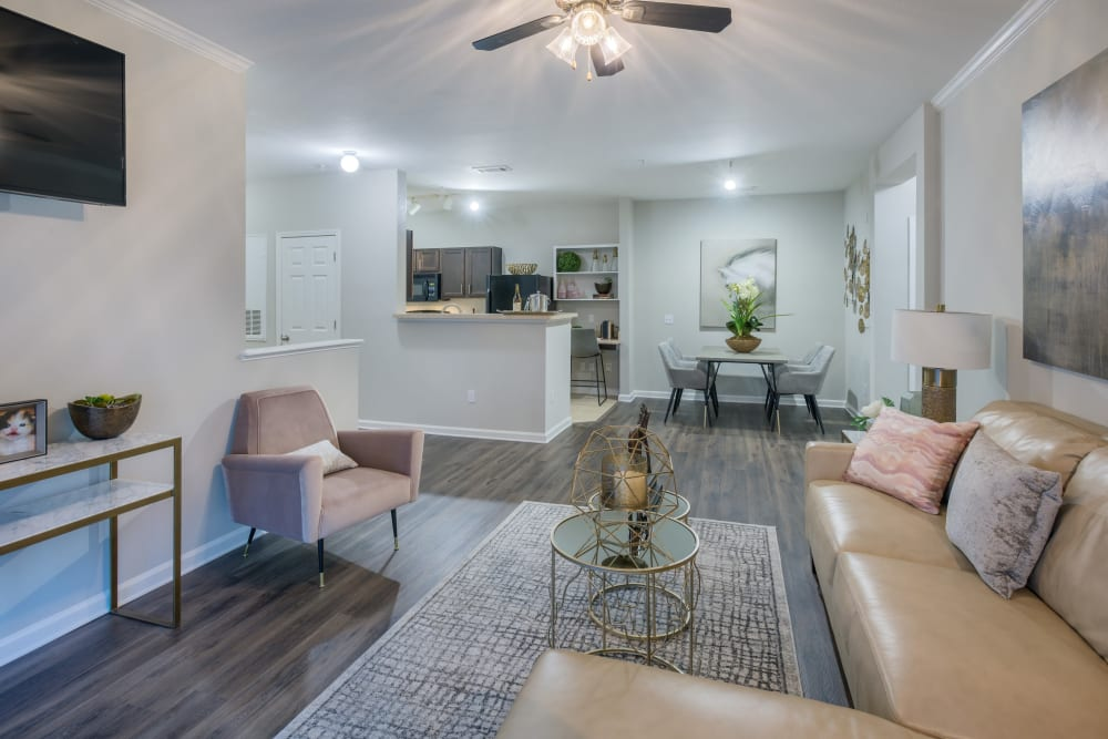 Open concept floor plan with hardwood floors, a wall mounted tv, and modern decor at The Vive in Kannapolis, North Carolina