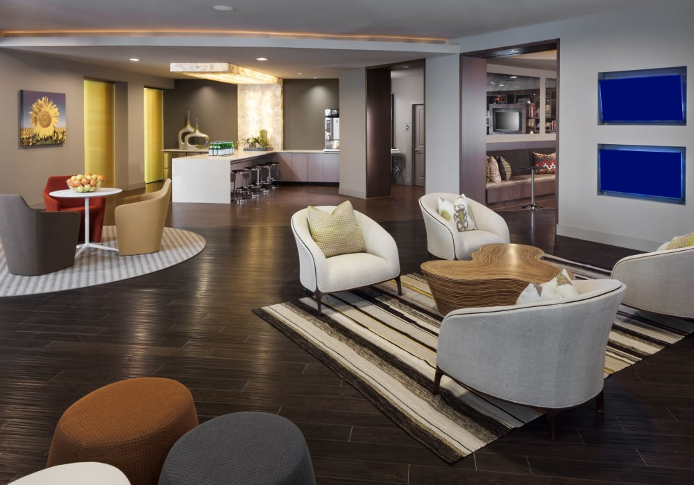 Interior of the luxury Maple District Lofts's clubhouse in Dallas, Texas
