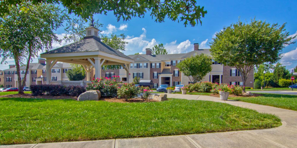 Gazebo with walking path and places to sit and relax at Atkins Circle Apartments & Townhomes in Charlotte, North Carolina