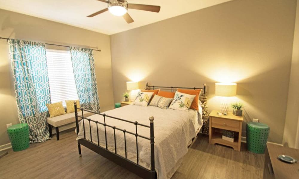 Beautiful bedroom at The Niche Apartments in San Antonio, Texas