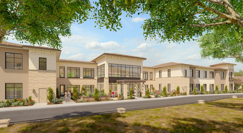 Rendering of front entrance at Carefield Living West Sacramento in West Sacramento, California.