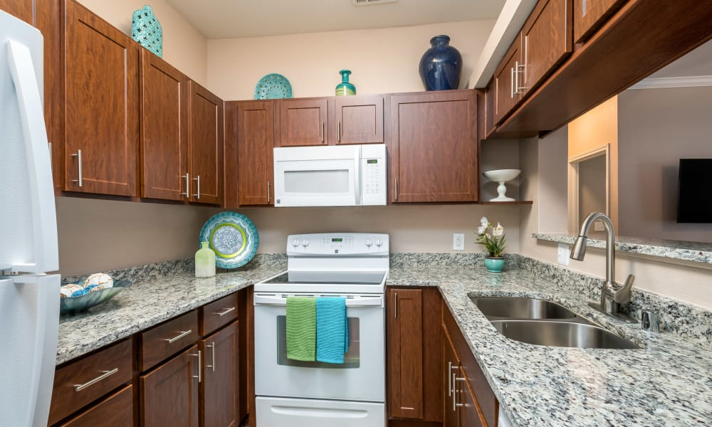 Granite countertops and white appliances in a kitchen at El Lago Apartments in McKinney, Texas