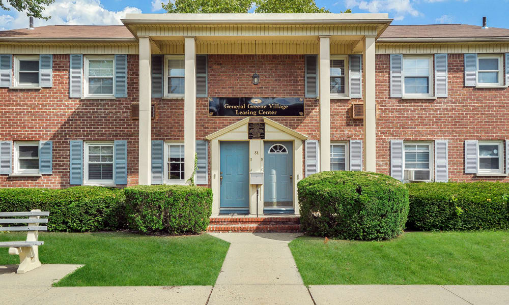 The leasing center entrance at General Greene Village Apartment Homes