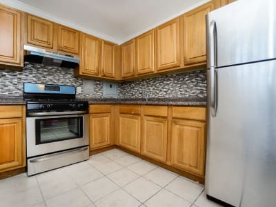 Riverside Towers Apartment Homes offers a natrually well-lit kitchen in New Brunswick, New Jersey