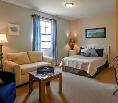 A resident bedroom at The Springs At South Biscayne in North Port, Florida.