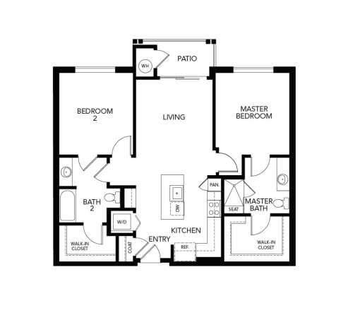 Two bedroom B1a: 1061 sq. ft. at Avenida Cool Springs in Franklin