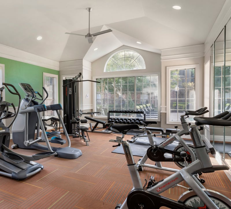 Fully equipped fitness center at Regency at First Colony in Sugar Land, Texas