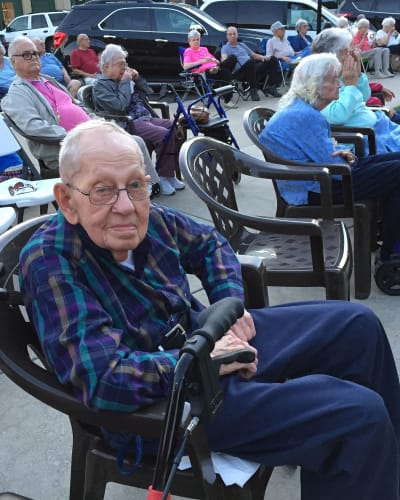 Residents waiting for the entertainment to begin at Garden Place Waterloo in Waterloo, Illinois.