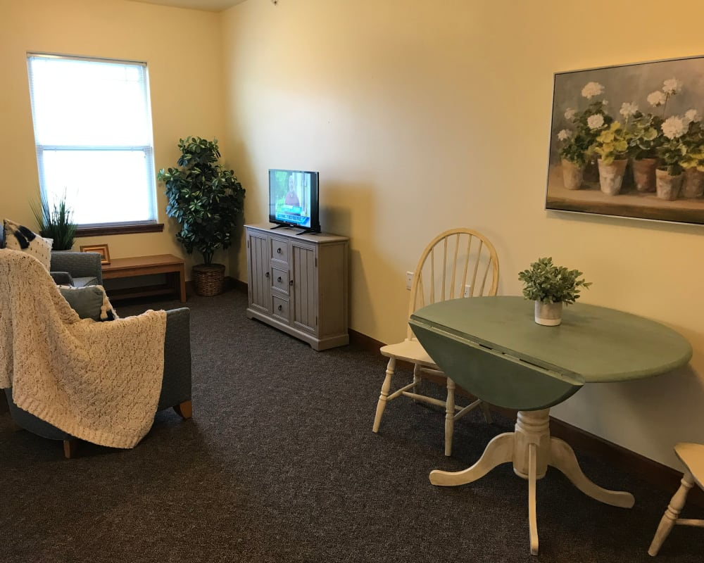 Open floor plan apartment at Prairie Hills Senior Living in Des Moines, Iowa.