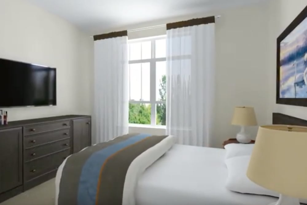 A rendering of a spacious, decorated bedroom at Harmony at Brentwood in Brentwood, Tennessee