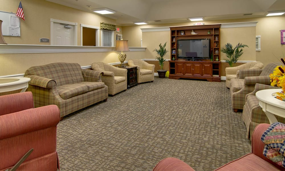 Activity room at Olive Grove Terrace Senior Living in Olive Branch, Mississippi