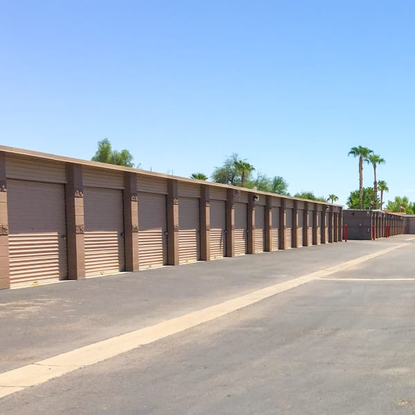 Outdoor storage units at StorQuest Self Storage in Glendale, Arizona
