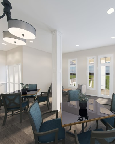 Dining area at Keystone Place at Richland Creek in O'Fallon, Illinois