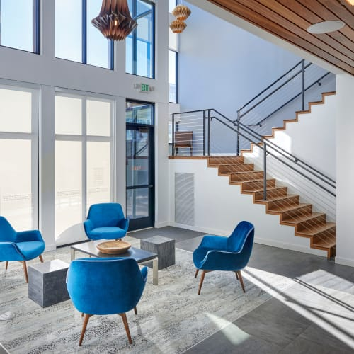 Stylish and modern furnishings in the resident lounge at Elevate in Englewood, Colorado