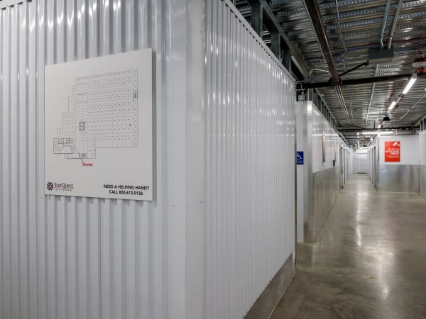 Hallway of units at StorQuest Self Storage in Seattle, Washington