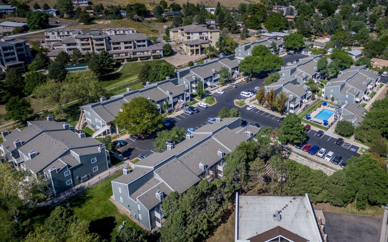 An aerial view of the property at Bluesky Landing Apartments in Lakewood, Colorado