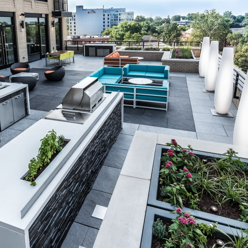 A rooftop lounge with barbeques at Solaire 7077 Woodmont in Bethesda, Maryland