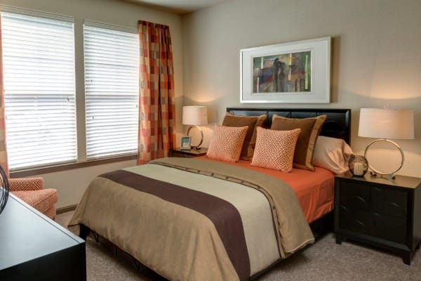 Spacious living room with plush carpeting at The Addison at South Tryon in Charlotte, North Carolina