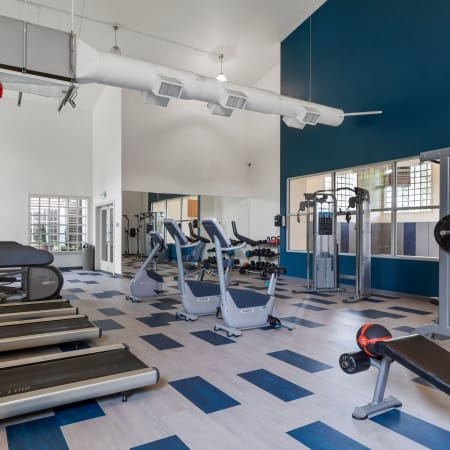 Newly Renovated Fitness Center with Cardio and Weight Equipment at Olin Fields Apartments in Everett