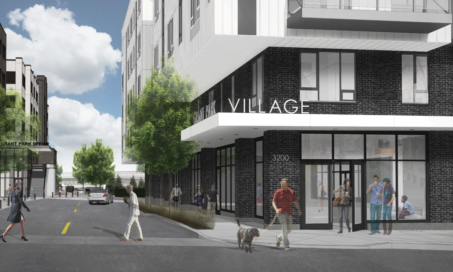 Exterior rendering of street view at Grant Park Village - Quimby, from NE 32nd and NE Weidler in Portland, OR