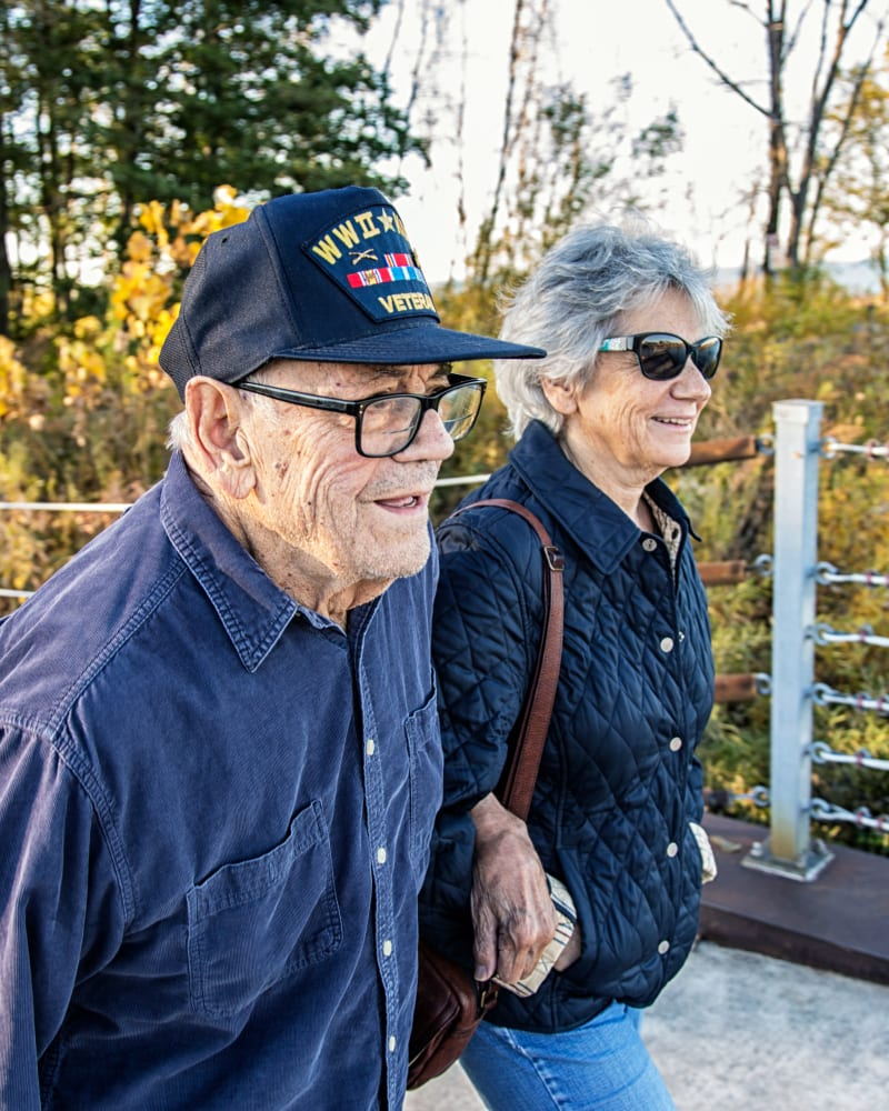 Resident walking with their partner at Randall Residence of Centerville in Centerville, Ohio