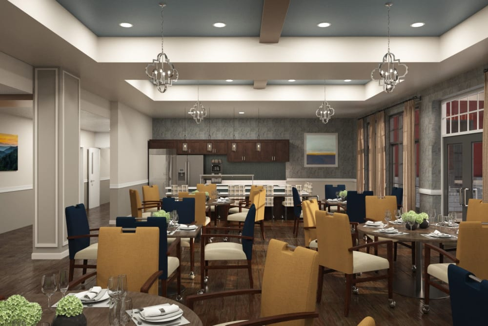 Set tables in the memory care dining room at Anthology of Midlothian - Opening Early 2021 in North Chesterfield, Virginia