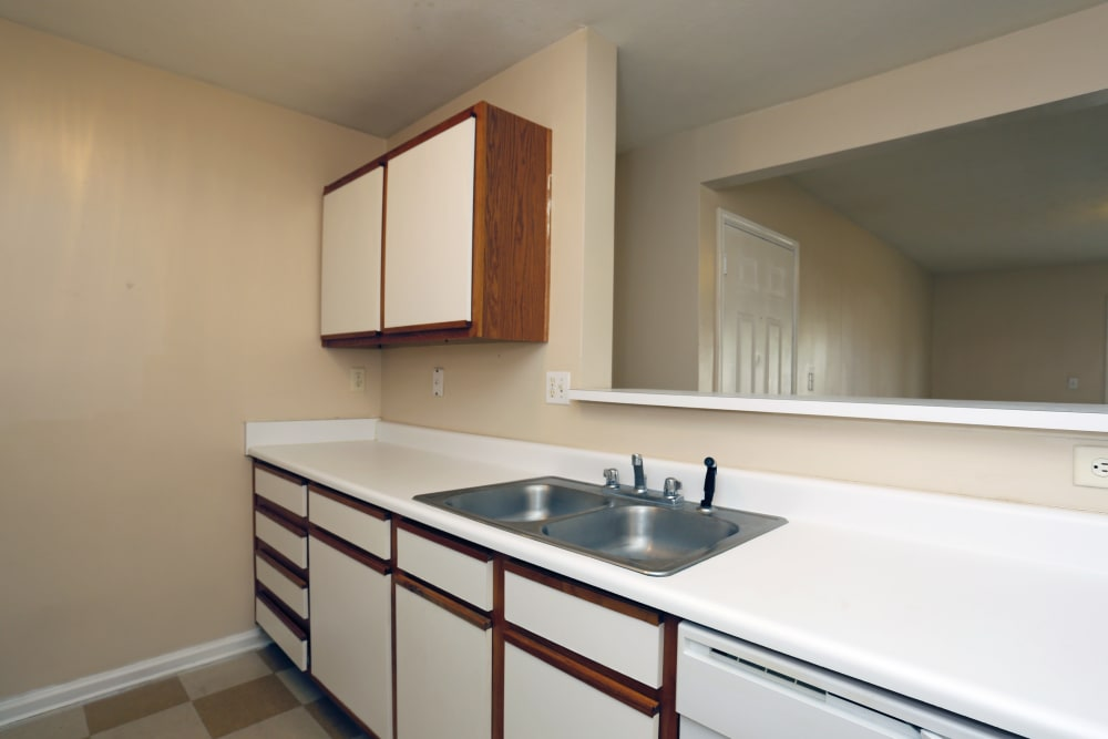 Kitchen counter tops in an apartment at Ashton Park Apartments in Gulfport, Mississippi