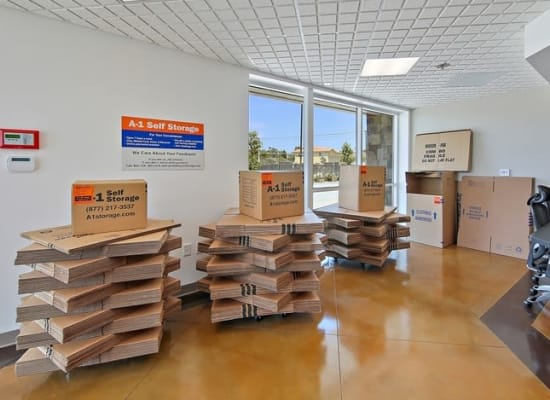 A variety of box sizes available at A-1 Self Storage in San Diego, California