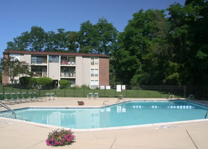 Resort Style Swimming Pool at Fairway Trails Apartments in Ypsilanti, MI