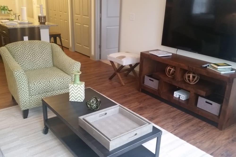 Spacious living room at Watercourse Apartments in Graham, North Carolina