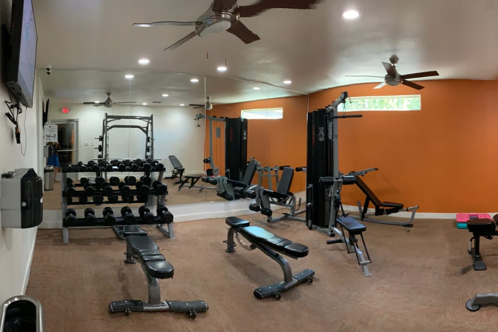 Free weights and more in the fitness center at 505 West Apartment Homes in Tempe, Arizona