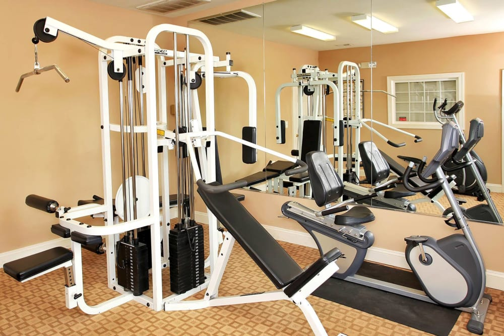 Fitness center at townhomes in Fredericksburg