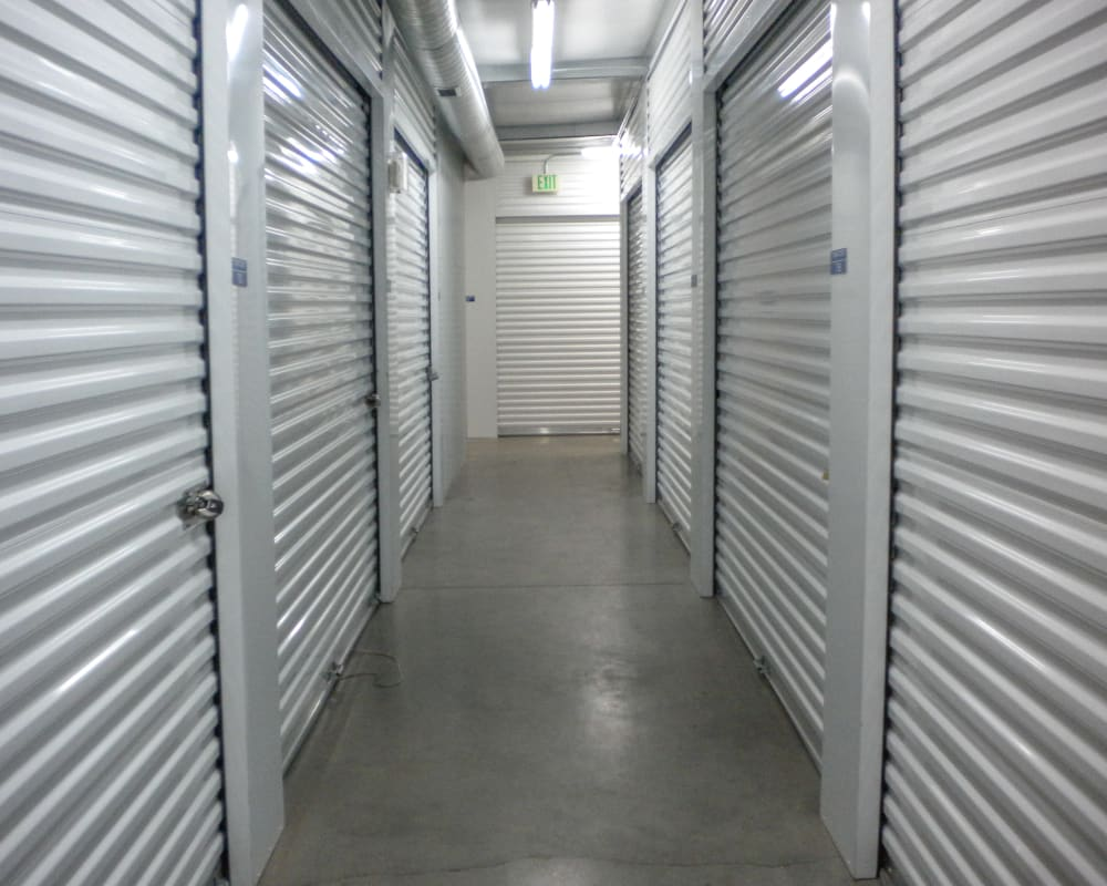 White doors on interior climate-controlled storage units at STOR-N-LOCK Self Storage in Salt Lake City, Utah