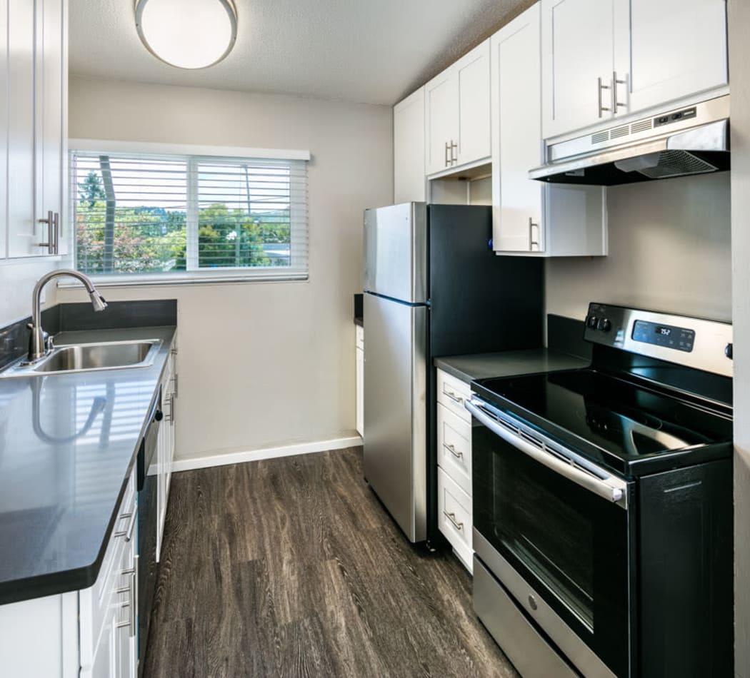 Modern, sleek kitchen at 1038 on Second in Lafayette, California