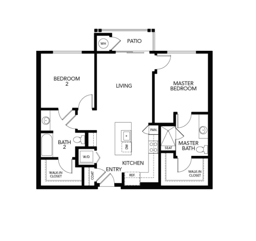 Two bedroom B1b: 1038 sq. ft. at Avenida Cool Springs in Franklin