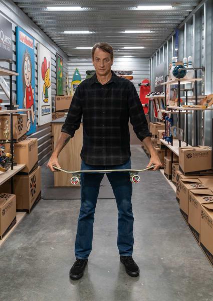 Tony Hawk in his storage unit at StorQuest Self Storage