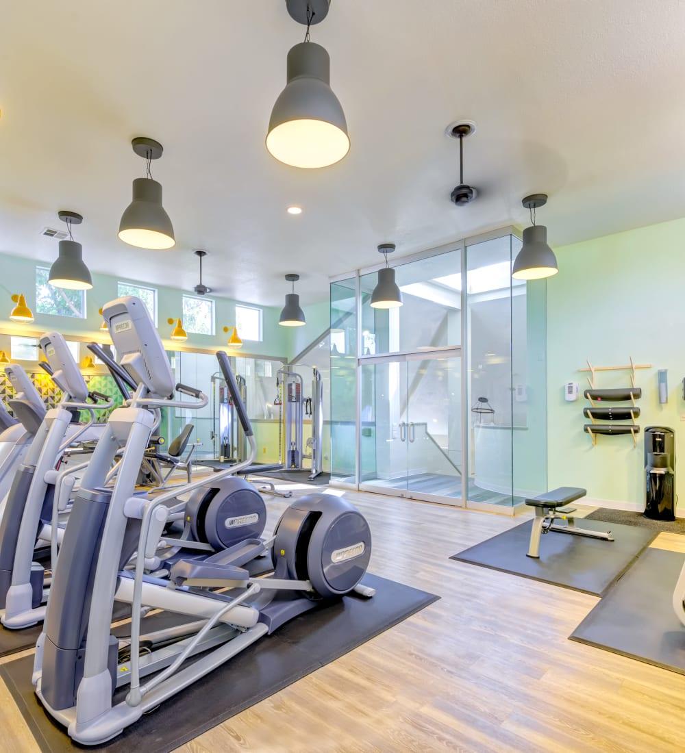 Cardio machines and more in the fitness center at Sofi Irvine in Irvine, California