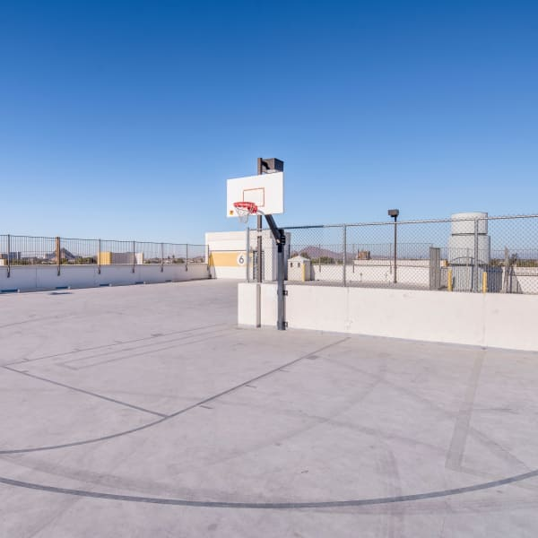 Outdoor rooftop basketball court at Tempe Metro in Tempe, Arizona